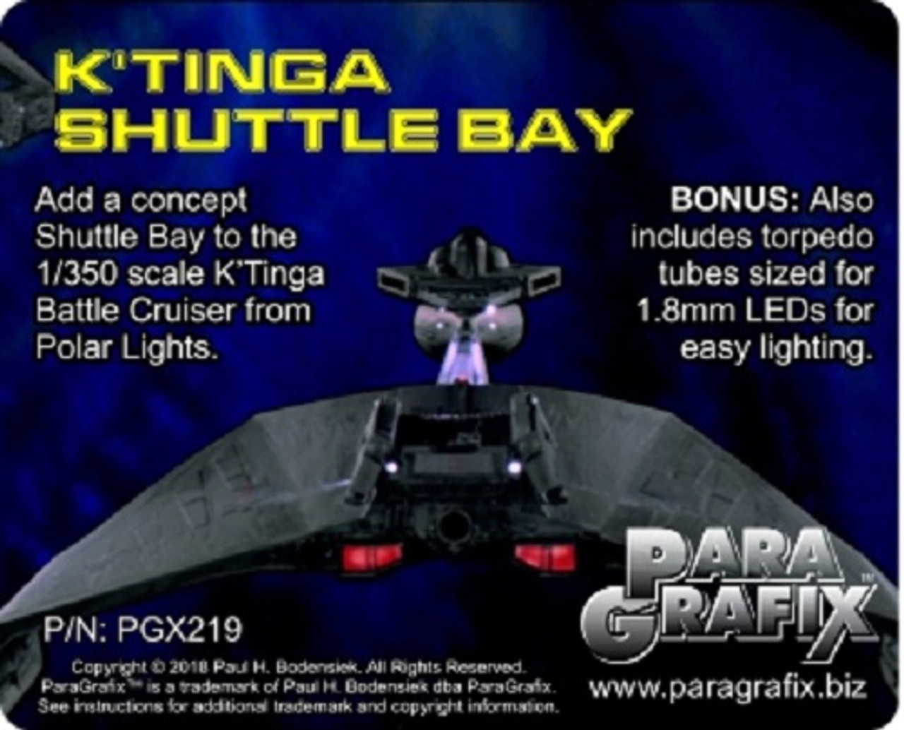 Paragrafix PGX219 1:350 K'Tinga Shuttle Bay Photoetch Set