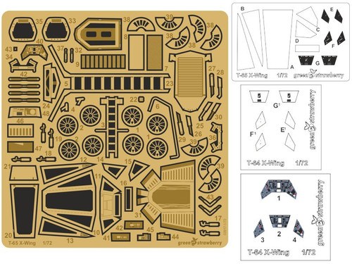 Green Strawberry 1/72 Bandai T-65 X-Wing Photoetch Detailing Set