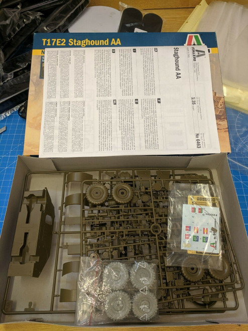 Italeri 6463 T17E2 Staghound AA 1/35 Scale plastic kit, Complete + Resin Wheels