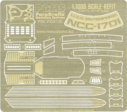 Paragrafix PGX130 - Refit Enterprise Photoetch Set (1:1000 scale) for POL820