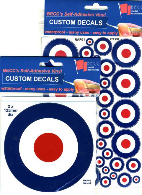 BECC RAF01 - RAF Roundels Type D (1970 to Present Day) Multi Size Pack 5 - 50mm