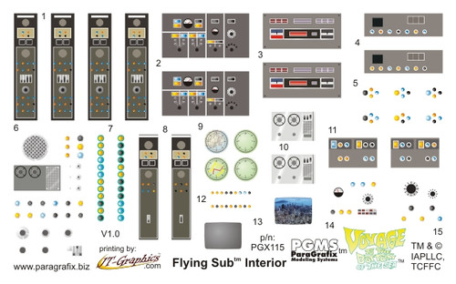 Paragrafix PGX115 Flying Sub Decals for Stock Interior - FOR KIT: Moebius #817