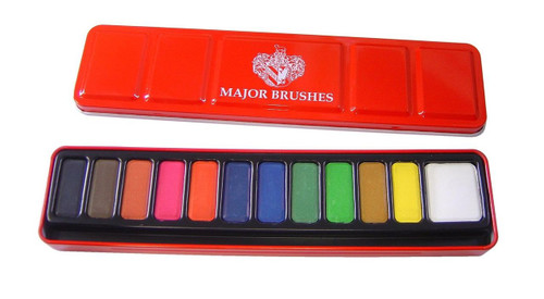 Major Brushes Watercolour Paint Set 12 Assorted Colours