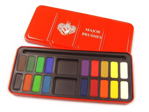 Major Brushes Watercolour Paint Set 18 Assorted Colours