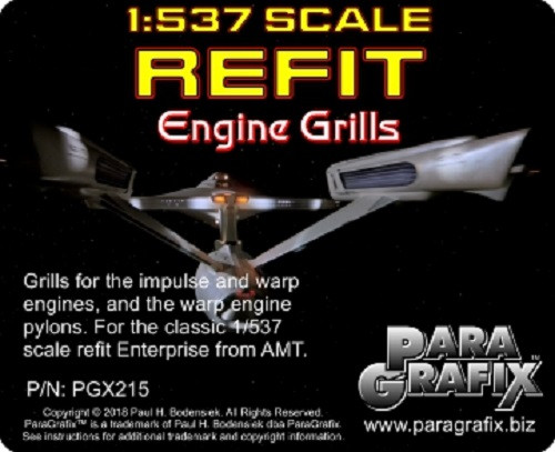 Paragrafix PGX215 - 1/537 Refit Enterprise Engine Grills Photoetch Set