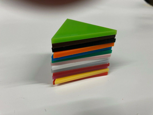 3mm thick Acrylic Equilateral Triangles, colours & sizes available 50mm - 200mm