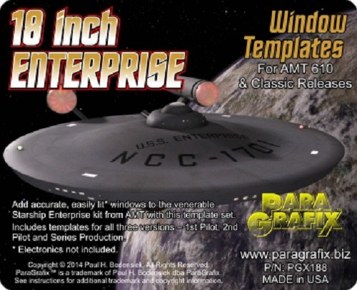 Paragrafix PGX188 18 inch Enterprise Window Templates - FOR KIT: AMT610 & Classic (S951 and 6676) + AMT695 (Reliant)