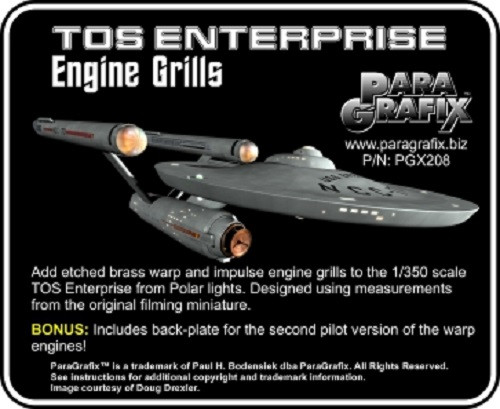 Paragrafix PGX208 1/350 TOS Enterprise Engine Grills Photoetch Set