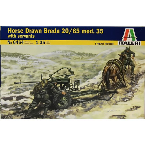 Italeri 6464 1:35 Horse Drawn Breda 20/65 Mod. 35 with servants