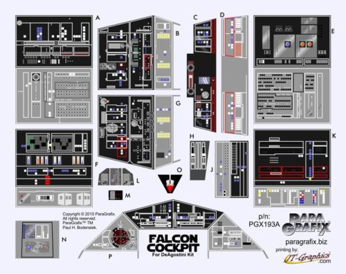 Paragrafix PGX193 Deagostini Millennium Falcon Cockpit Photoetch & Decals Set