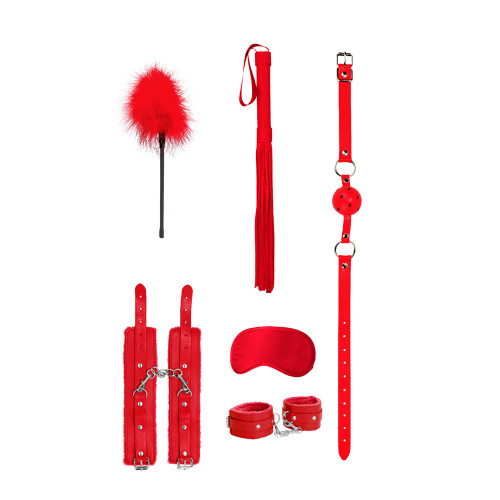 Beginners Bondage Kit Red. gag ball, blindfold, wrist restraints and whip.