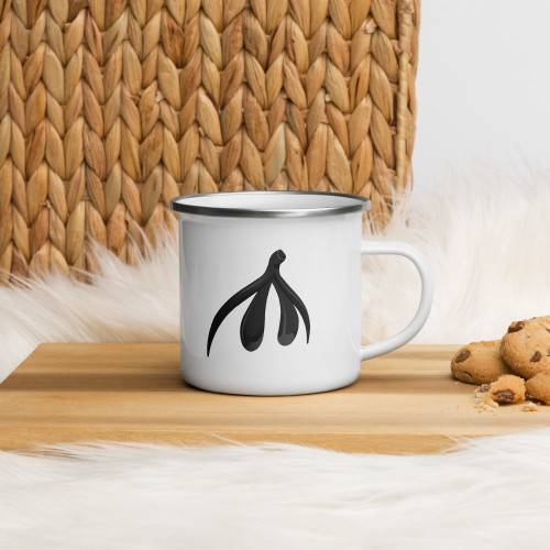 Clit Enamel Mug. This hardwearing cup is ideal for camping or enjoying hot drinks on the go.