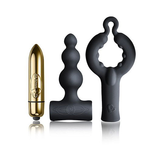 Rocks Off Silhouette Be Mine Kit. bullet vibrator. Anal plug and male masturbator.