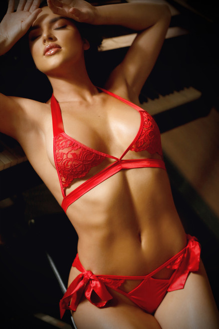 Lace 2-Piece Bra Set - Red