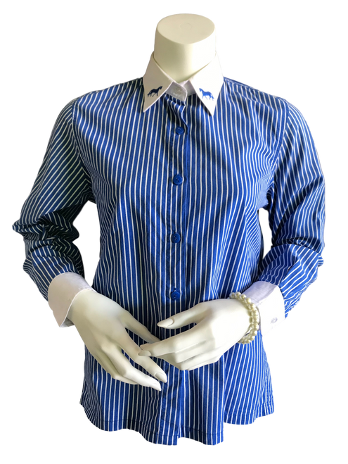 Showstoppers Royal & White Ladies Shirt L8 - 2nd Hand