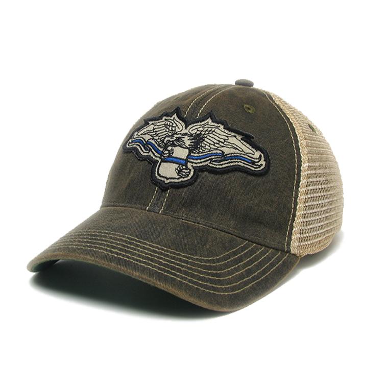 ODMR Blue Line Eagle Hat - Black Mesh