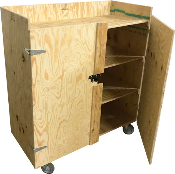 4 Shelf Cart with Locking Doors