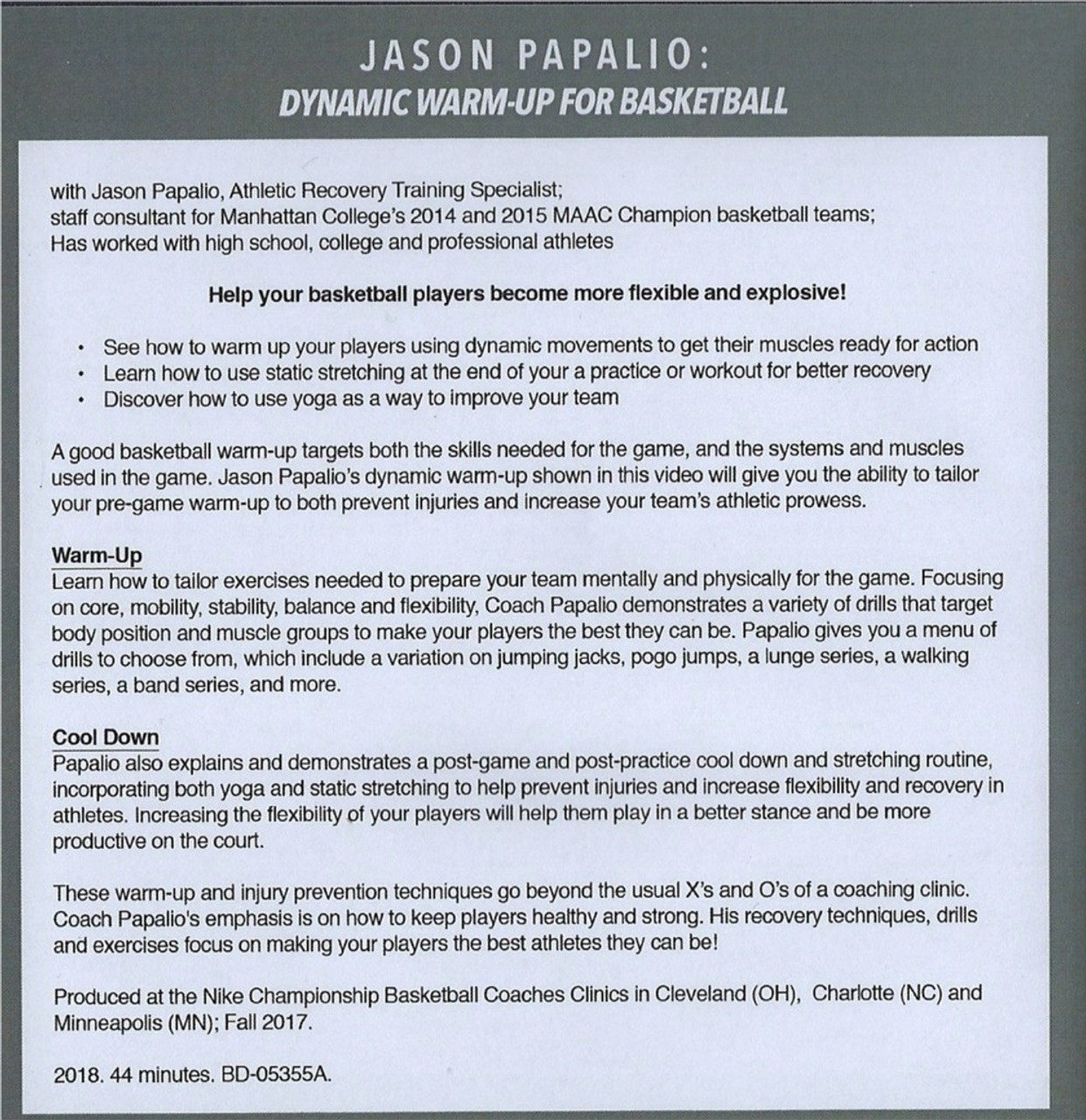 Dynamic Warm-up Drills For Basketball by Jason Papalio