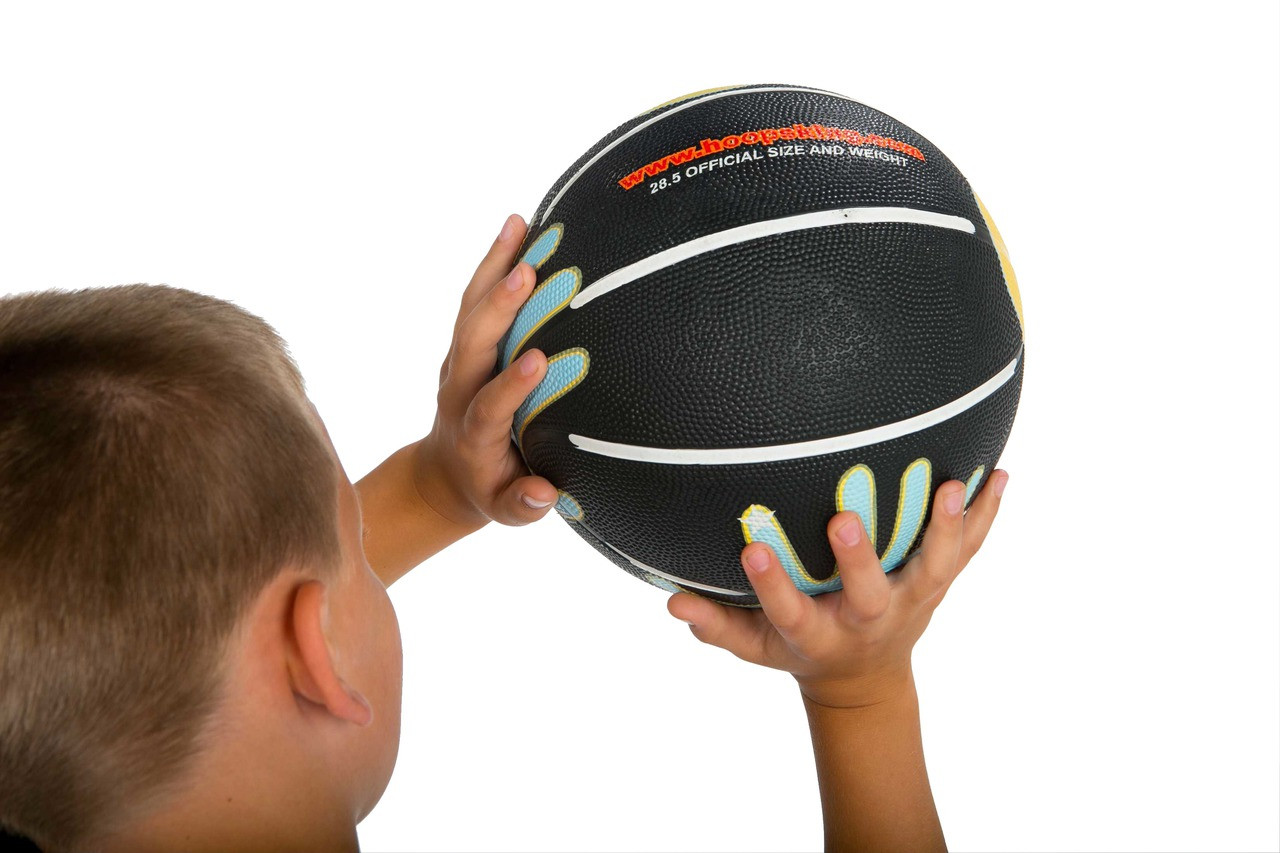 training basketball with hands painted training aid