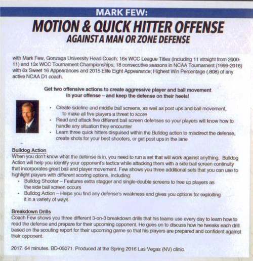 (Rental)-Motion & Quick Hitter Offense Against A Man Or Zone Defense