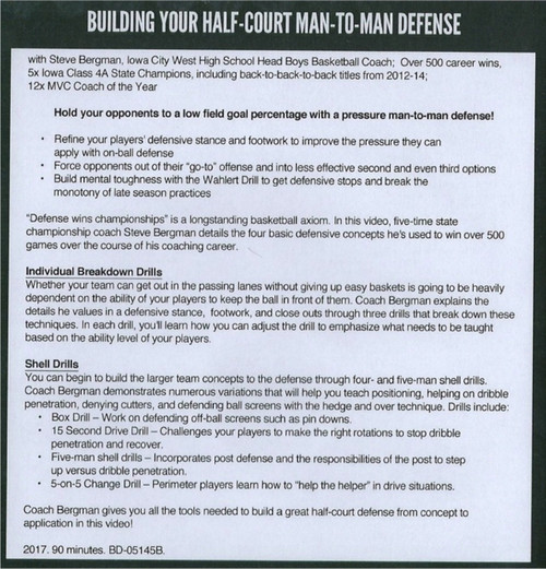 Building Your Half-Court Man-to-Man Defense