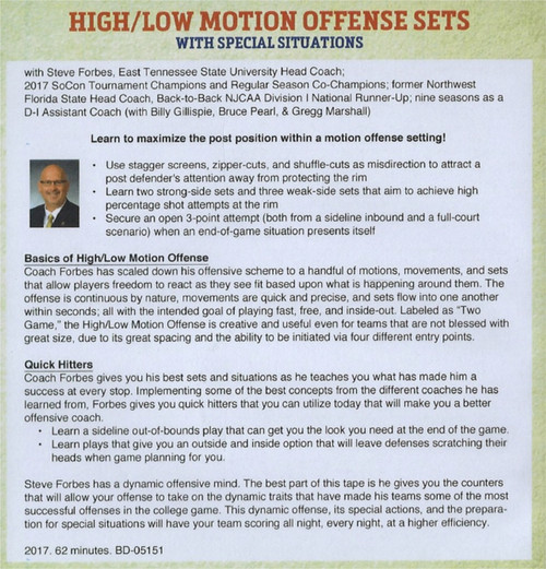 high low motion offense sets for basketball