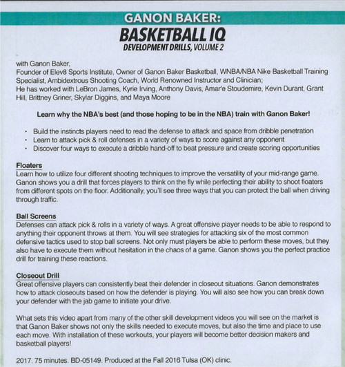 Ganon Baker Basketball IQ Development Drills Vol. 2