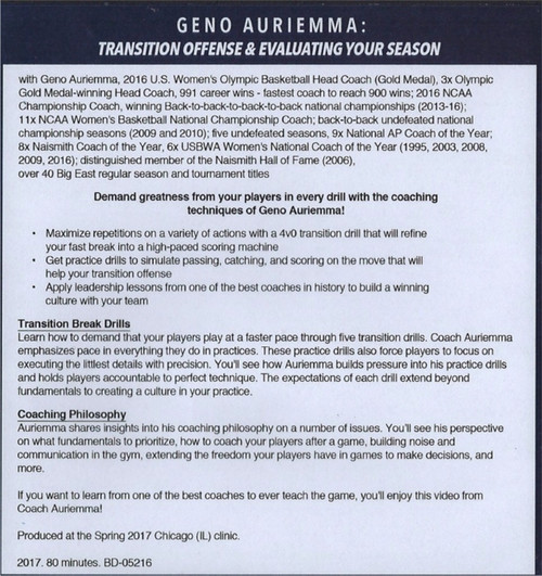 (Rental)-Transition Offense & Evaluating Your Season
