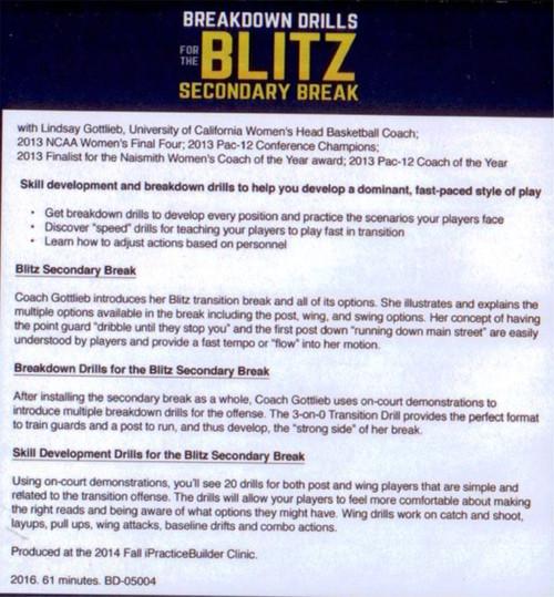 Blitz Secondary Break Lindsay Gottlieb