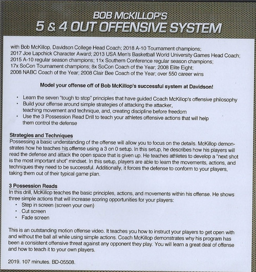 (Rental)-5 & 4 Out Offensive System for Basketball