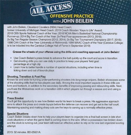 (Rental)-All Access Basketball Offensive Practice John Beilein