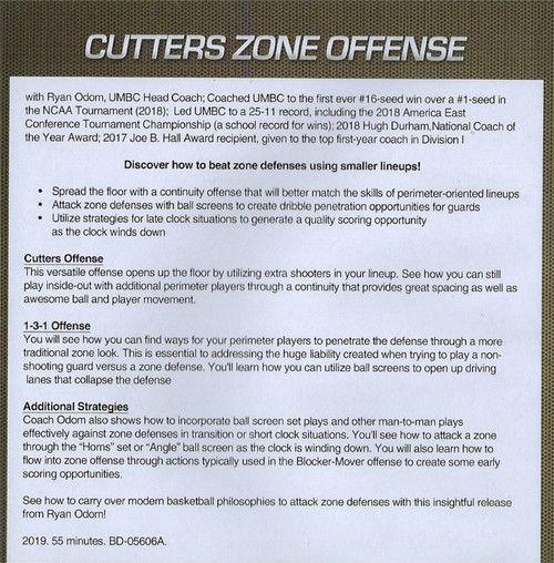 (Rental)-Cutters Basketball Zone Offense