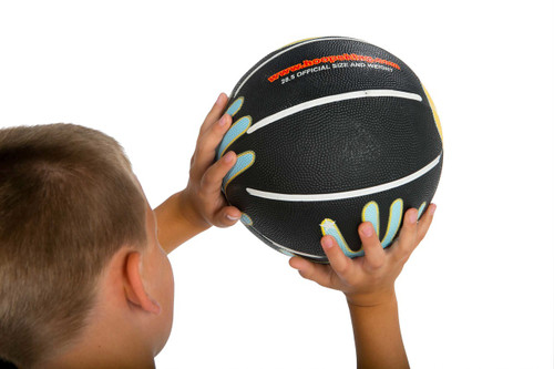 The SkilCoach Shooting basketball is the basketball with the hands on it.