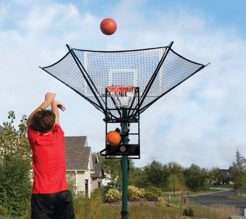 IC3 Basketball Rebounder installed on home driveway.