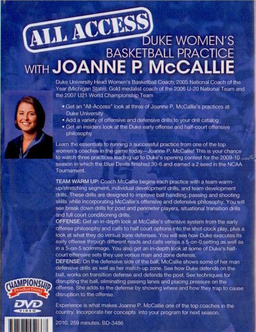 basketball practice plan with Joanne McCallie Women Duke