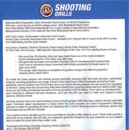 Duke Shooting Drills by Mike Krzyzewski | Rent DVD