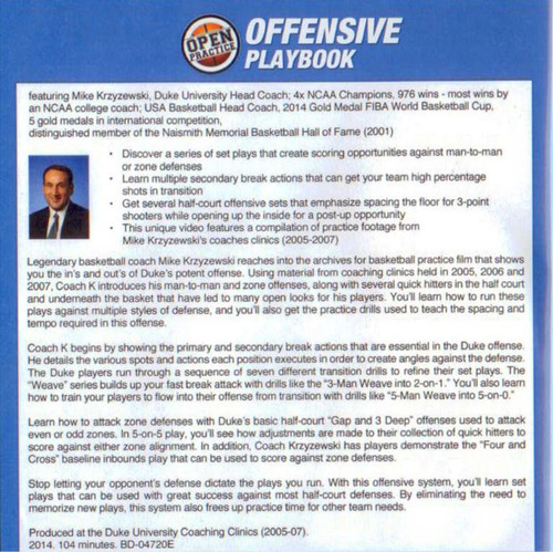 Duke Basketball Offensive Plays by Mike Krzyzewski DVD