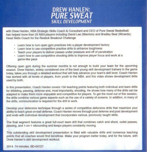 Drew Hanlen Pure Sweat Skill Development Basketball DVD