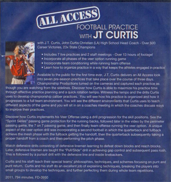 (Rental)-ALL ACCESS FOOTBALL PRACTICE WITH JT CURTIS