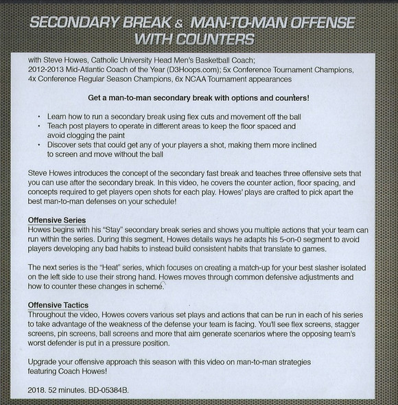 Secondary Break Offense for Basketball