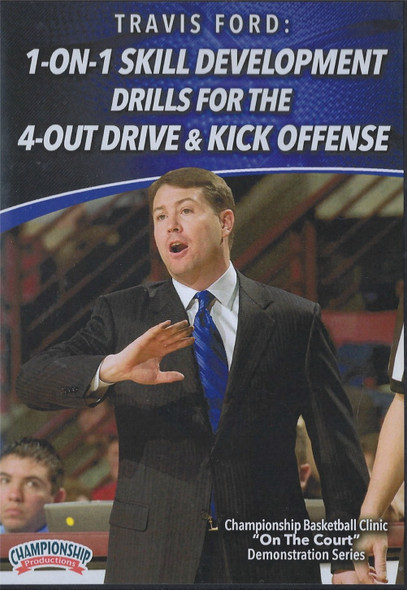 1 on 1 Skill Development for the 4 Out Drive & Kick Offense by Travis Ford Instructional Basketball Coaching Video