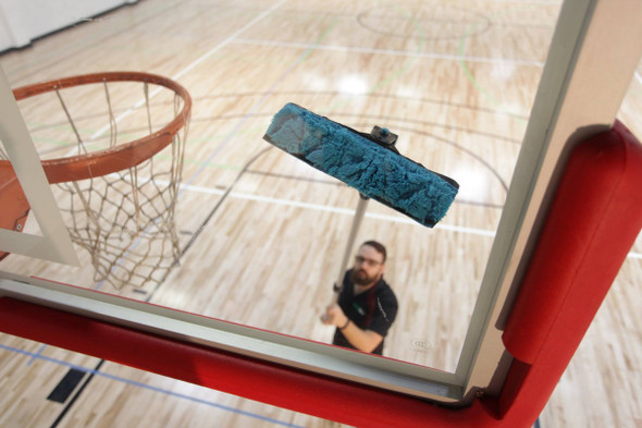 microfiber pad to clean glass or acrylic basketball backboard