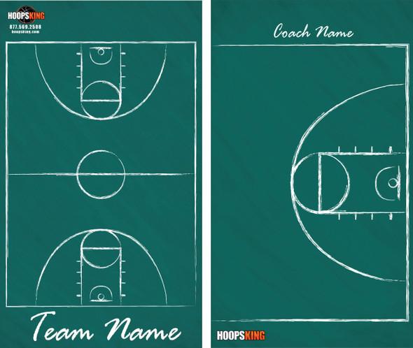 green chalkdboard dry erase basketball coaching board