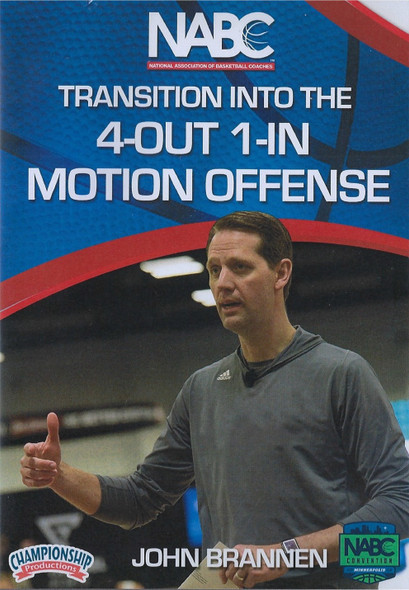 Transition Into the 4 Out 1 In Motion Offense by John Brannen Instructional Basketball Coaching Video