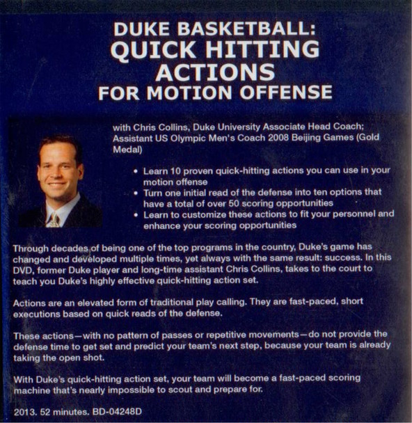 (Rental)-Duke Basketball: Quick Hitting Actions For Motion Offense