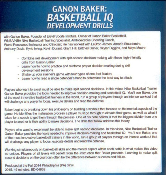 basketball decision making drills Ganon Baker