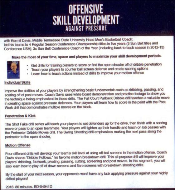 (Rental)-Offensive Skill Development Against Pressure