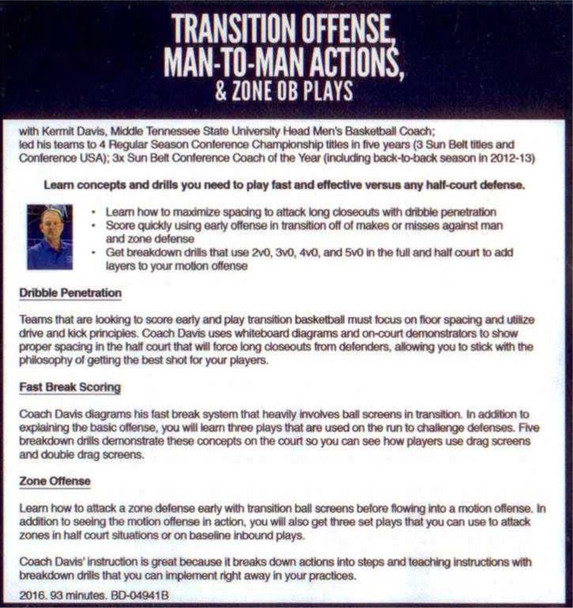 (Rental)-Transtion Offense, Man To Man Actions, & Zone Ob Plays