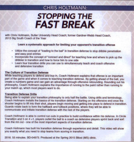 How to Stop the Fast Break in Basketball with Drills DVD