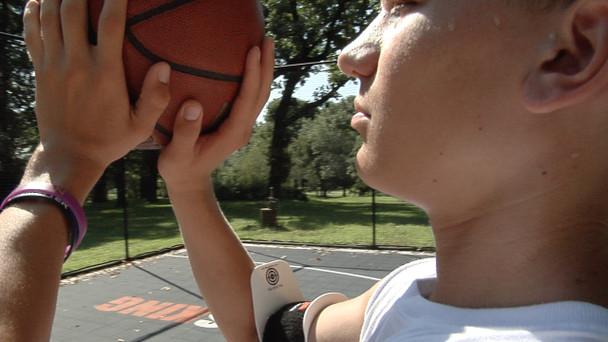 Bulls Eye Basketball Armband - shooting - up close